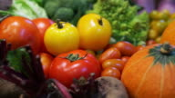 Fresh Vegetables, five colourful vitamin and healthy food video
