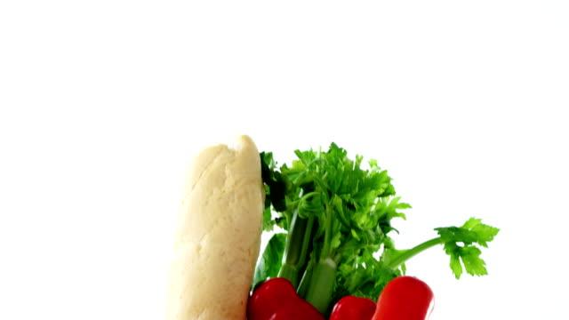 Fresh vegetables in shopping bag video