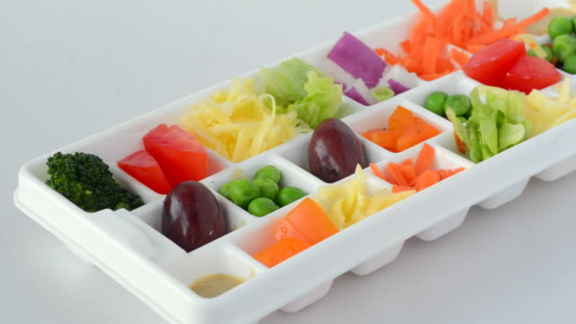 Fresh vegetables served in small portions tray video