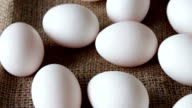 fresh white large raw eggs video