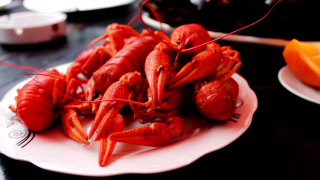 Freshly baked red crawfish on white plate on a table in a cafe video
