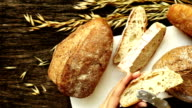 Freshly baked traditional bread video