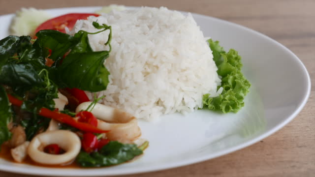 HD Fried basil leaf with seafood and rice video