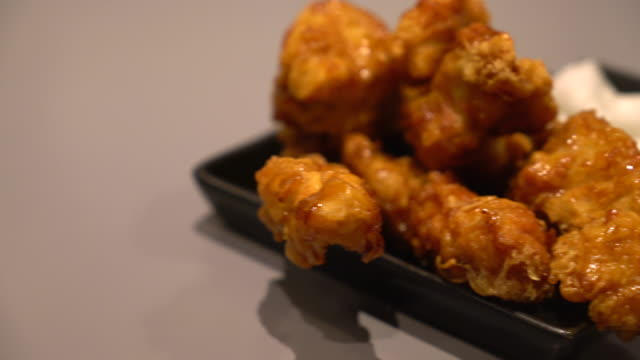 fried chiciken with sauce - korean style video