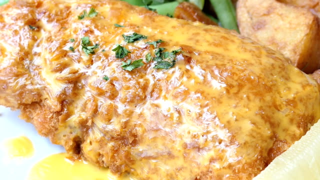 Fried chicken steak with lemon and vegetable video