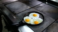 Fried egg in a frying pan video