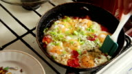 Fried Eggs with Vegetables Prepared on a Frying Pan video