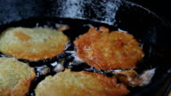 Fried potato pancakes. video