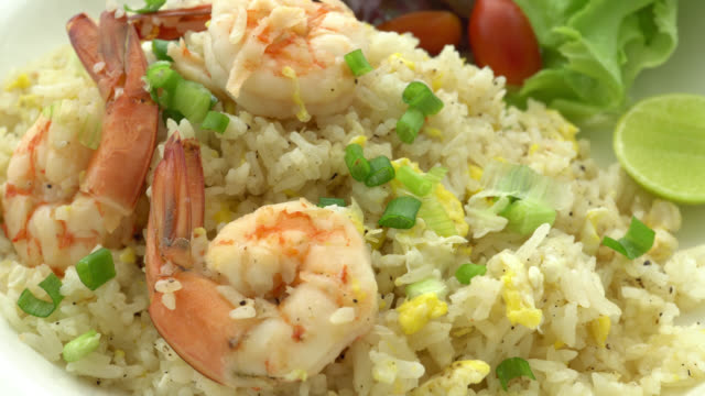 4K Fried rice with shrimp video