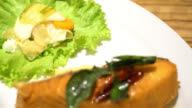 Fried salmon with sweet sauce video
