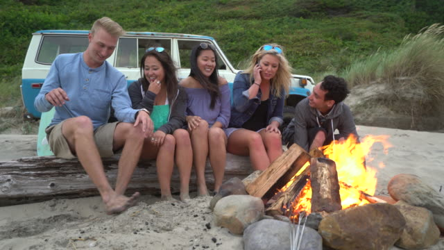 Friends at beach hanging out by campfire video