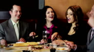 Friends at restaurant video