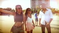 Friends at the Barceloneta beach video