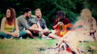 Friends camping and having a barbecue in forest video