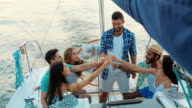 Friends celebrating a birthday on the yacht. video