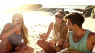 Friends eating pizza on beach video
