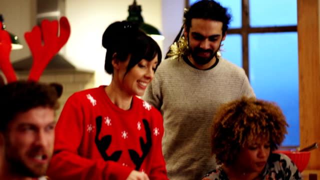 Friends enjoying Dinner at Christmas video