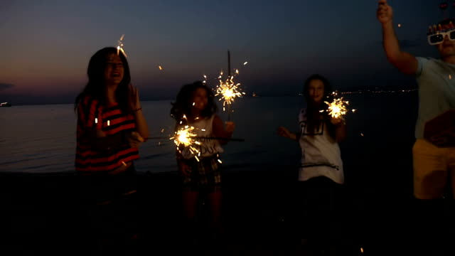 Friends enjoying New Year party at the seaside video
