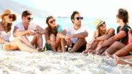 Friends Having A Beach Party video