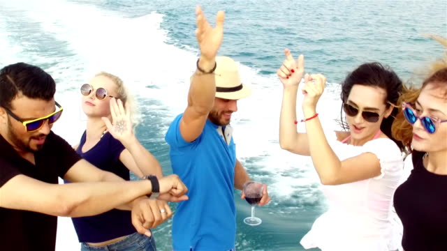 SLOW-MO: Friends having boat party video
