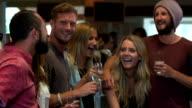 Friends having drinks in a bar video