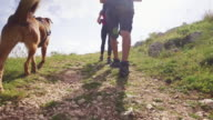 Friends hiking in Italian Apennines mountains video