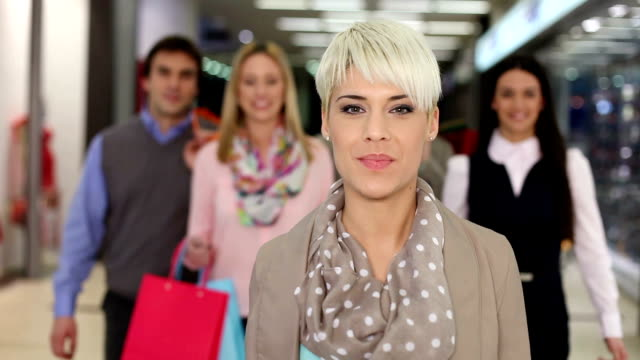 Friends in shopping. Slow motion. video