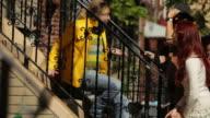 Friends in suburban street of New York video