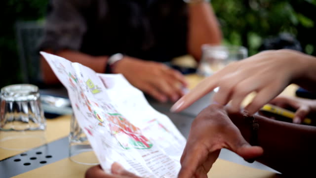 Friends look out map at italian restaurant video HD video