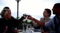 Friends make a toast at italian restaurant video HD video