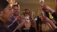 Friends Make Toast As They Celebrate At Party Together video