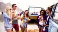 Friends on roadtrip video
