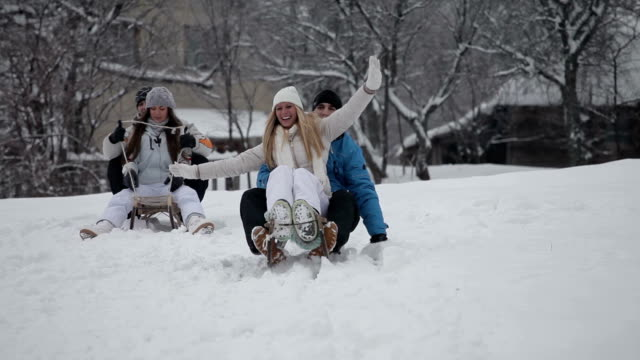 Friends on sledding video