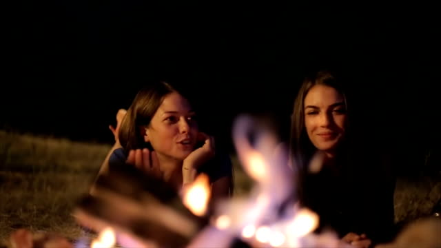 Friends on the camping,night scene video