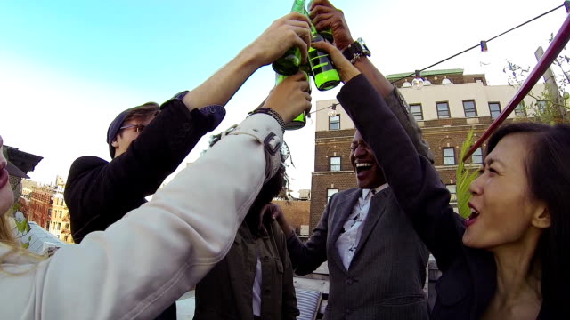 Friends party on a rooftop in New York Manhattan video