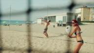 Friends play beach tennis and have fun video