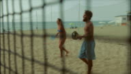 Friends play beach tennis and have fun video