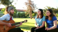 Friends playing guitar and singing. video