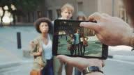 Friends posing in urban location video