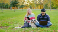 Friends relaxing on the lawn in the park. With them, the dog, the man uses a laptop video