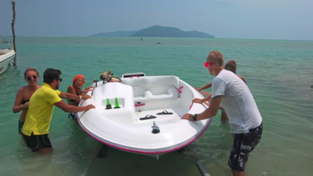 Friends riding speedboat 4K video