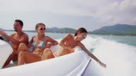 Friends riding speedboat 4K video