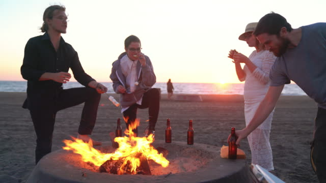 Friends roasting marshmallows on a beach campfire video