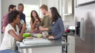 Friends socialising in a kitchen, full length, shot on R3D video