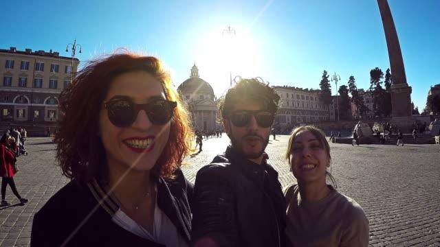 Friends taking a selfie stick in Rome video