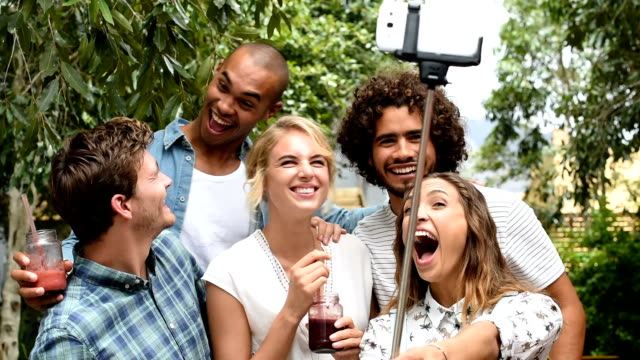 Friends taking a selfie video