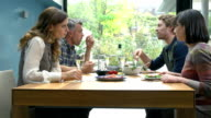 HD SUPER SLOW-MO: Friends Talking During Lunch video