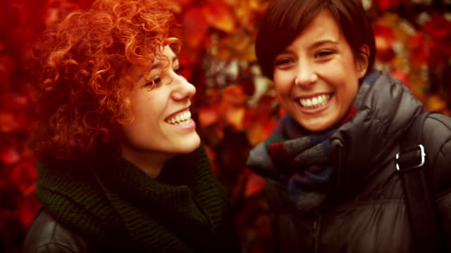 Friends talking in front of autumnal background video