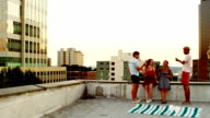 Friends toasting wine glasses on rooftop video