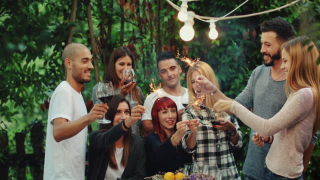 Friends together enjoy a party dinner with sparklers video
